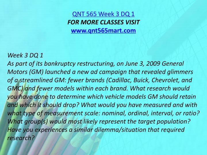 QNT 565 Week 3 DQ 1