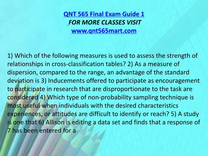 QNT 565 Final Exam Guide 1