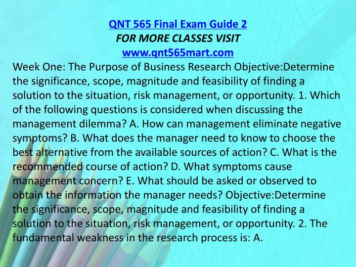 QNT 565 Final Exam Guide 2