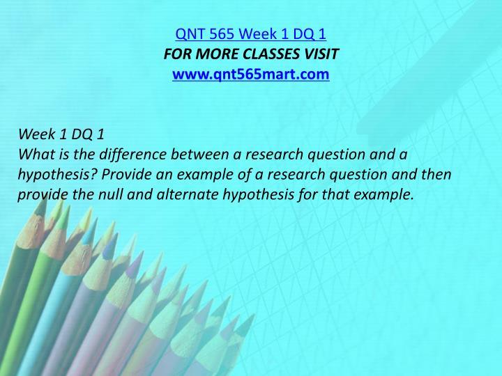 QNT 565 Week 1 DQ 1