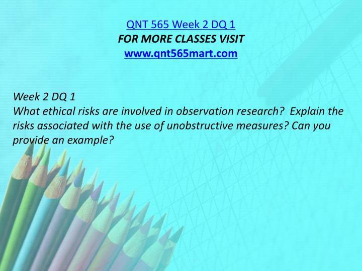 QNT 565 Week 2 DQ 1