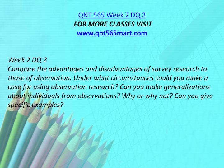 QNT 565 Week 2 DQ 2