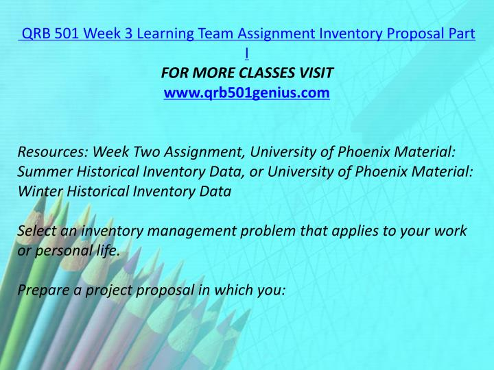 QRB 501 Week 3 Learning Team Assignment Inventory Proposal Part I