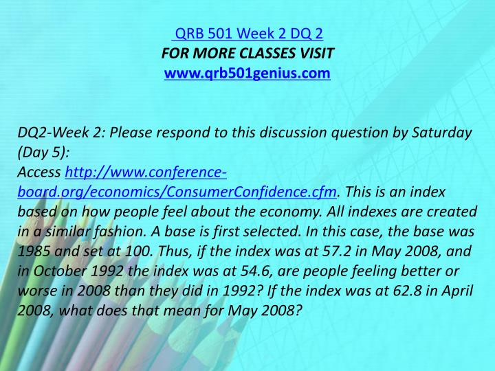 QRB 501 Week 2 DQ 2