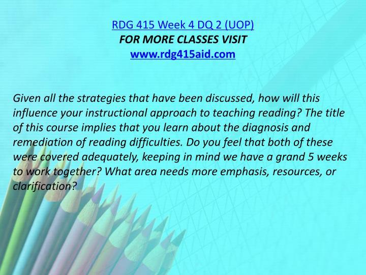 RDG 415 Week 4 DQ 2 (UOP)