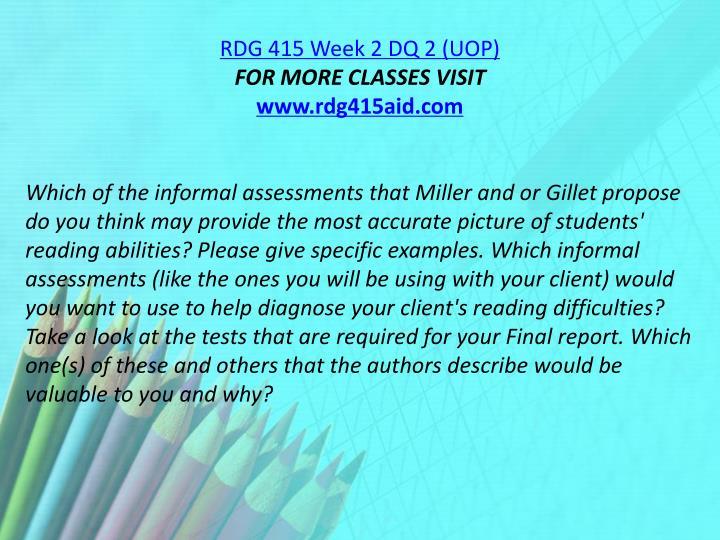 RDG 415 Week 2 DQ 2 (UOP)