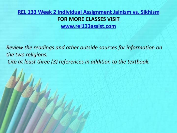 REL 133 Week 2 Individual Assignment Jainism vs. Sikhism