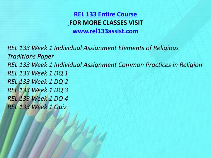 REL 133 Entire Course