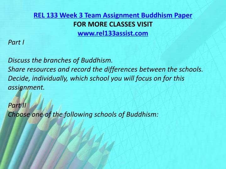 REL 133 Week 3 Team Assignment Buddhism Paper