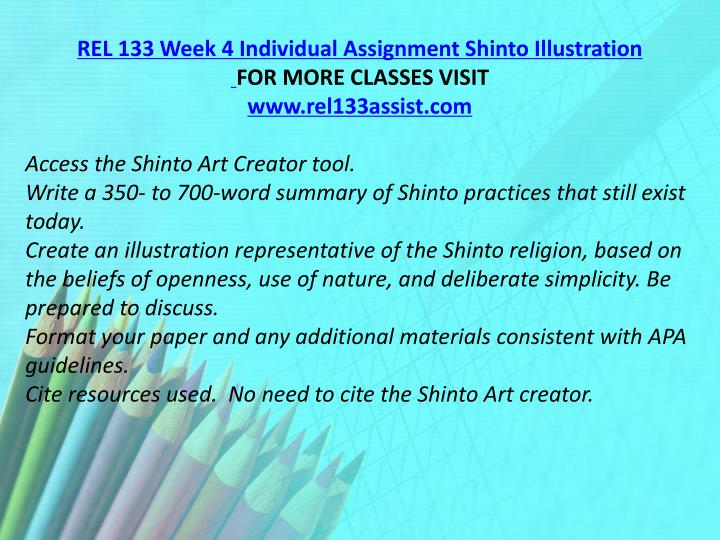 REL 133 Week 4 Individual Assignment Shinto Illustration