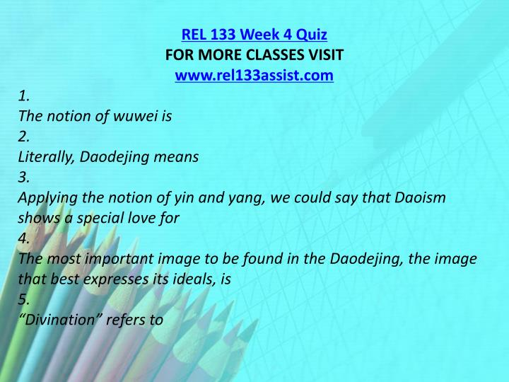 REL 133 Week 4 Quiz