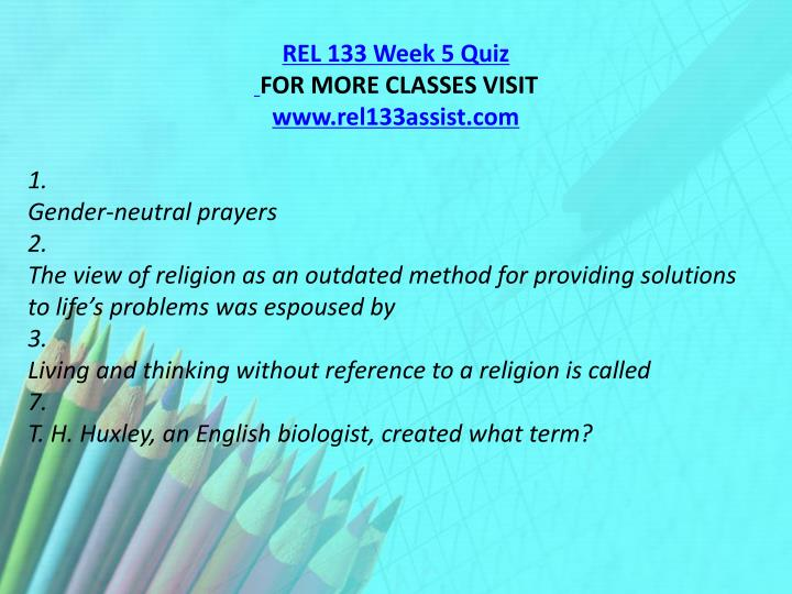 REL 133 Week 5 Quiz
