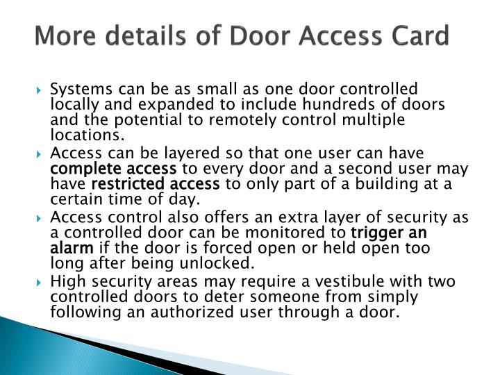 More details of Door Access Card