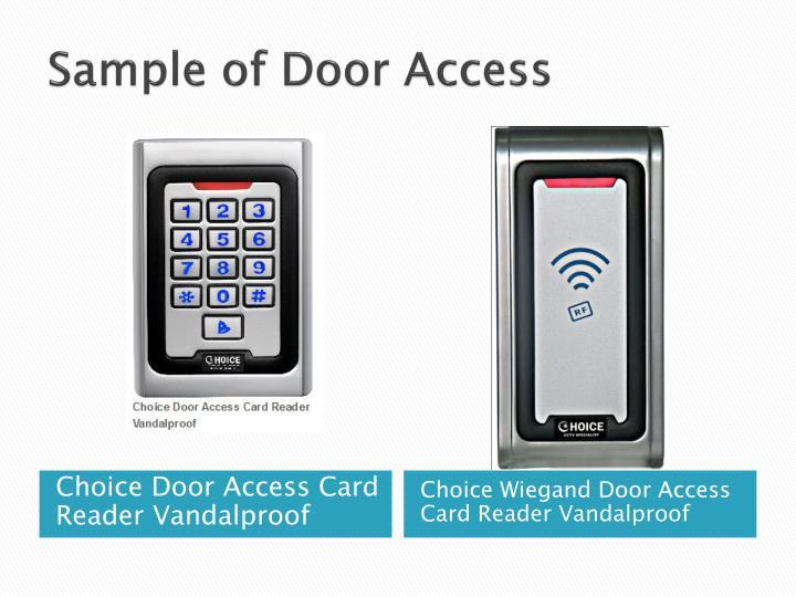 Sample of Door Access