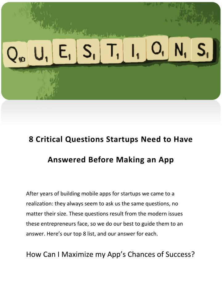 8 Critical Questions Startups Need to Have