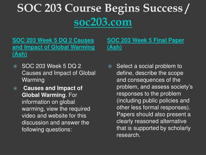 SOC 203 Course Begins Success /