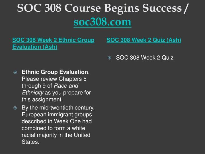 SOC 308 Course Begins Success /