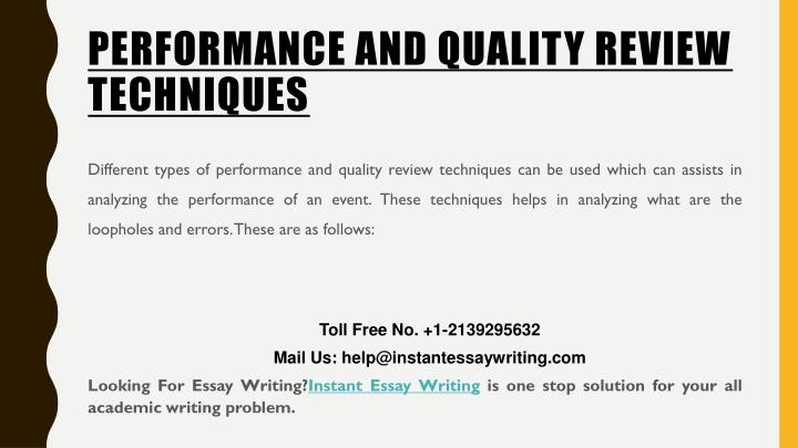 PERFORMANCE AND QUALITY REVIEW TECHNIQUES