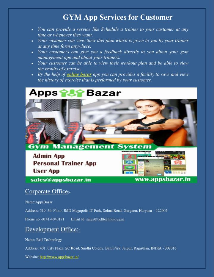 GYM App Services for Customer