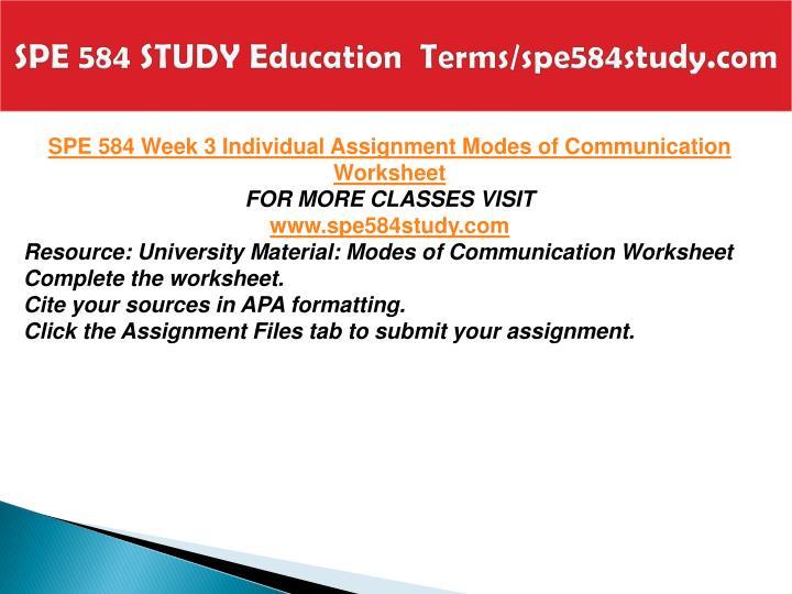 SPE 584 STUDY Education  Terms/spe584study.com