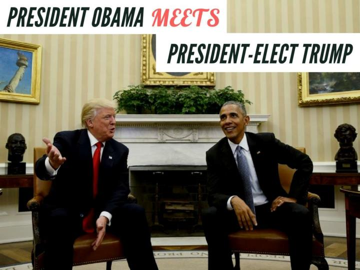 President obama meets president elect trump
