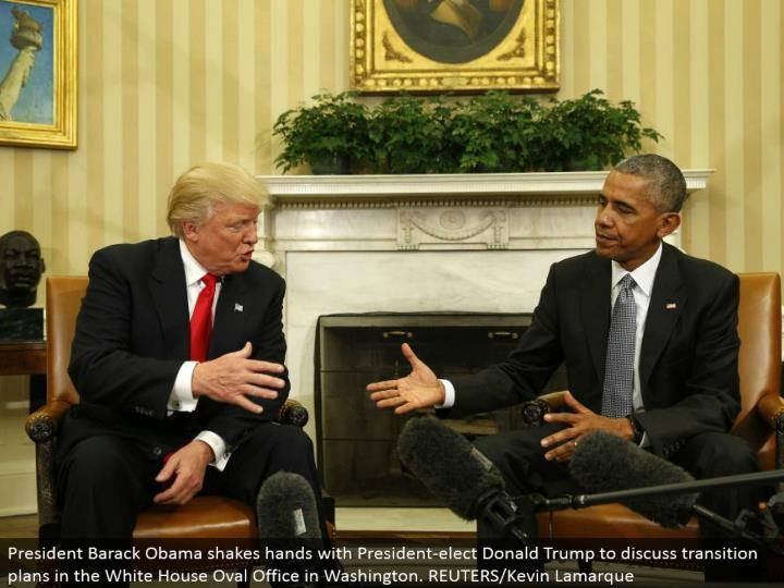 President Barack Obama shakes hands with President-elect Donald Trump to examine move arranges in the White House Oval Office in Washington. REUTERS/Kevin Lamarque