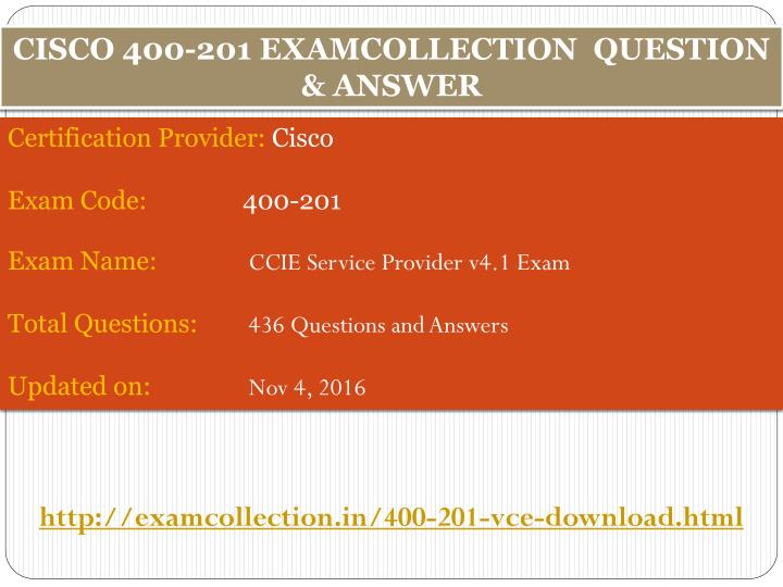 CISCO 400-201 EXAMCOLLECTION  QUESTION