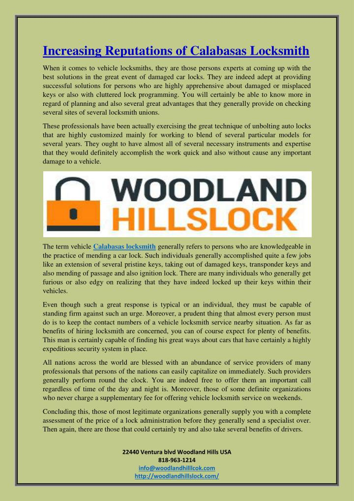 Increasing Reputations of Calabasas Locksmith
