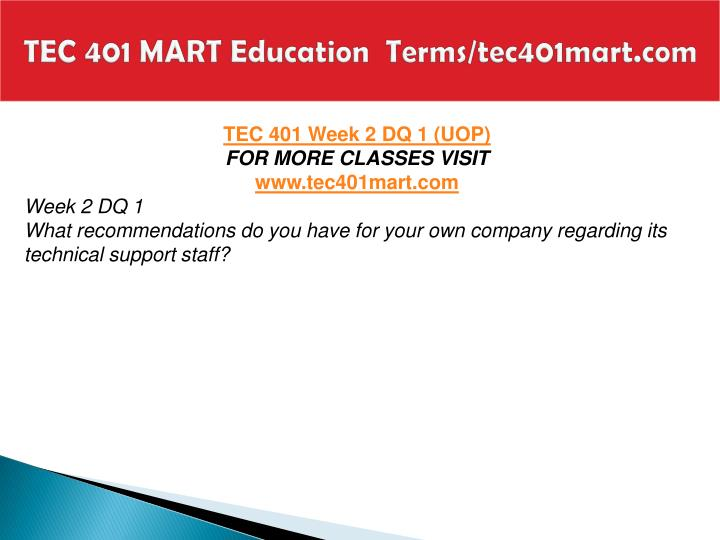 TEC 401 MART Education  Terms/tec401mart.com