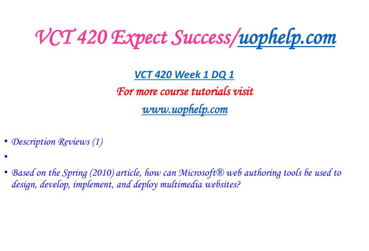 Vct 420 expect success uophelp com2