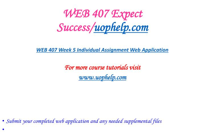 WEB 407 Expect Success/