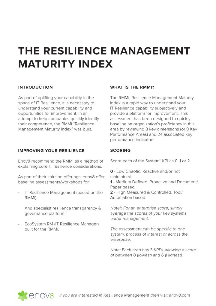 THE RESILIENCE MANAGEMENT