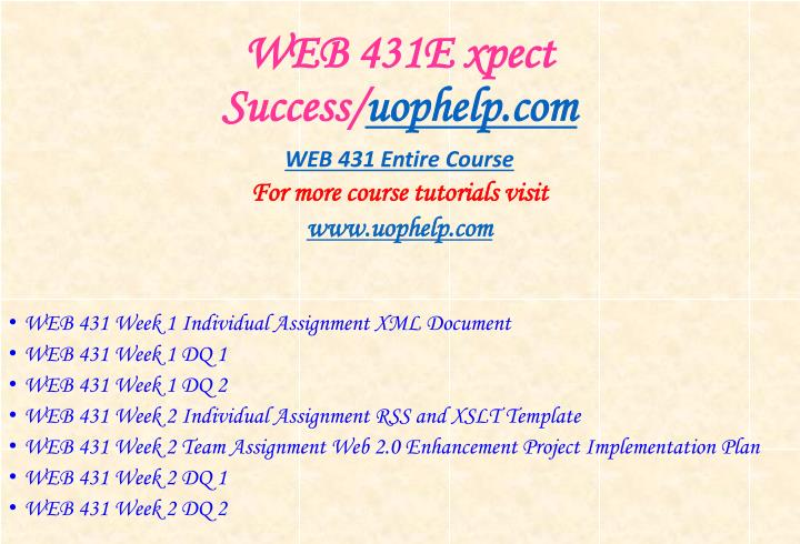 Web 431e xpect success uophelp com
