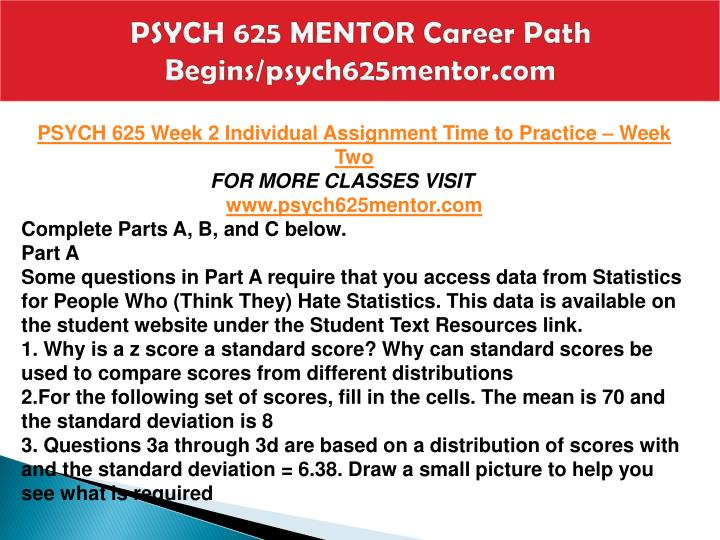 PSYCH 625 MENTOR Career Path Begins/psych625mentor.com