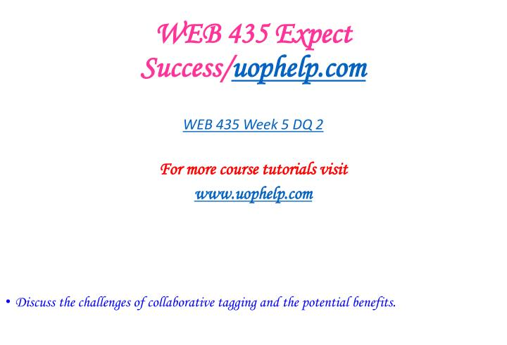WEB 435 Expect Success/