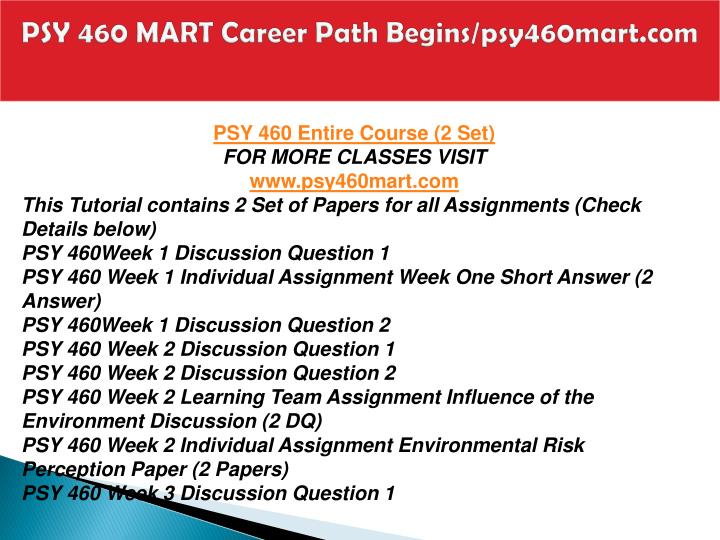Psy 460 mart career path begins psy460mart com1