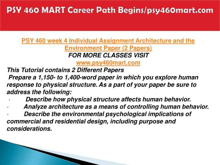 PSY 460 MART Career Path Begins/psy460mart.com