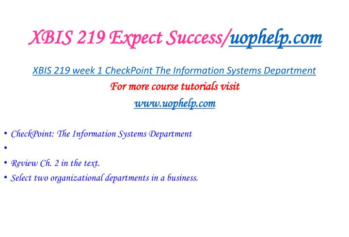 Xbis 219 expect success uophelp com1