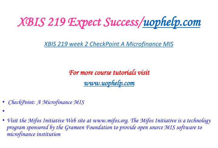 XBIS 219 Expect Success/