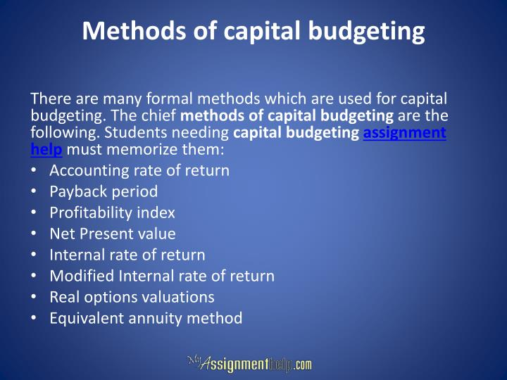 Methods of capital budgeting