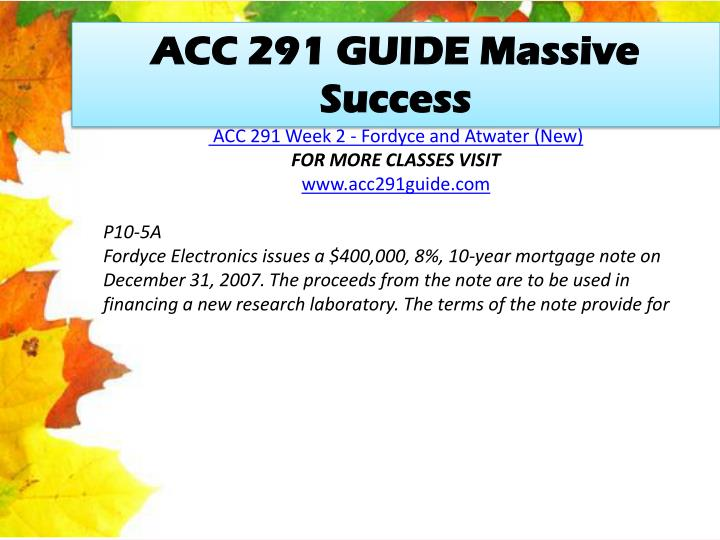 ACC 291 GUIDE Massive Success