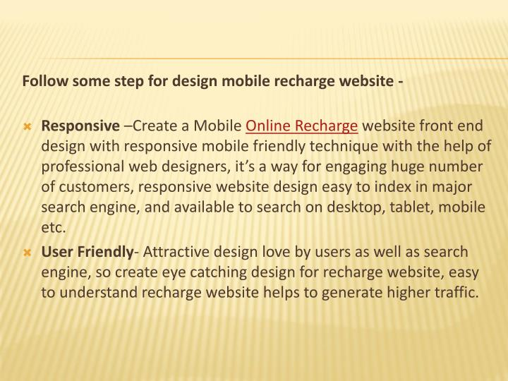 Follow some step for design mobile recharge website