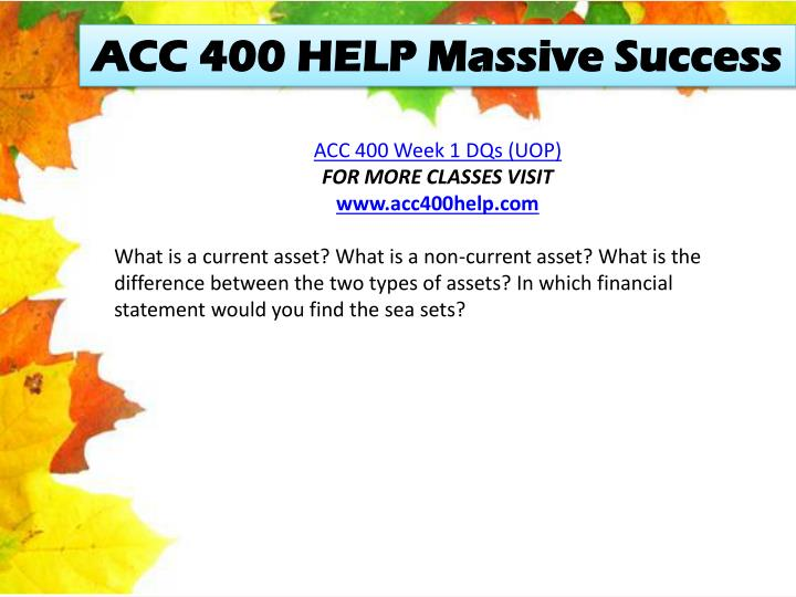 ACC 400 HELP Massive Success