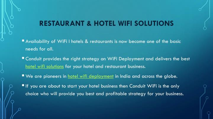 Restaurant & hotel wifi solutions