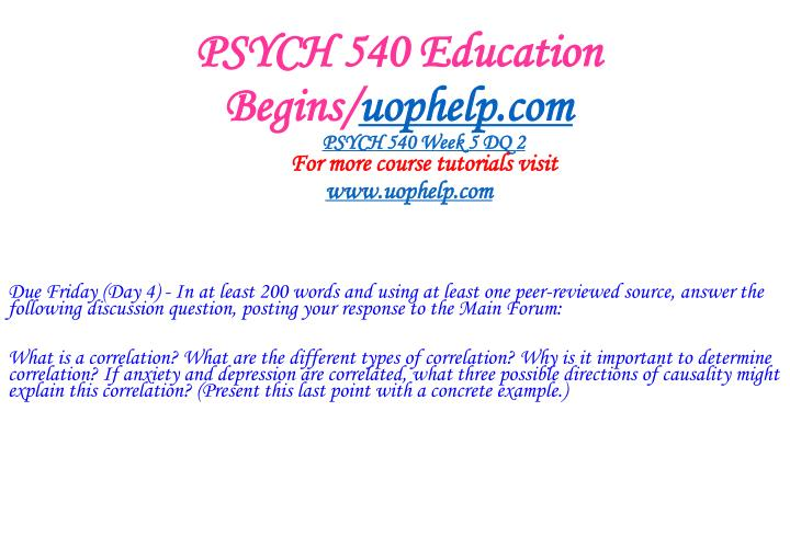 PSYCH 540 Education Begins/