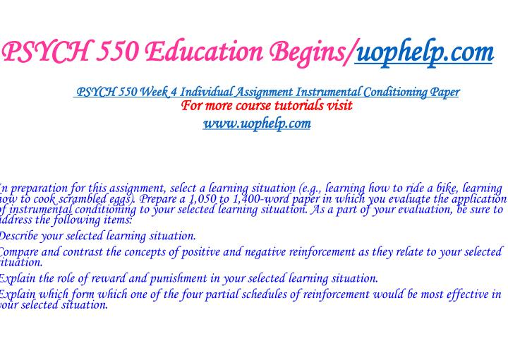 PSYCH 550 Education Begins/