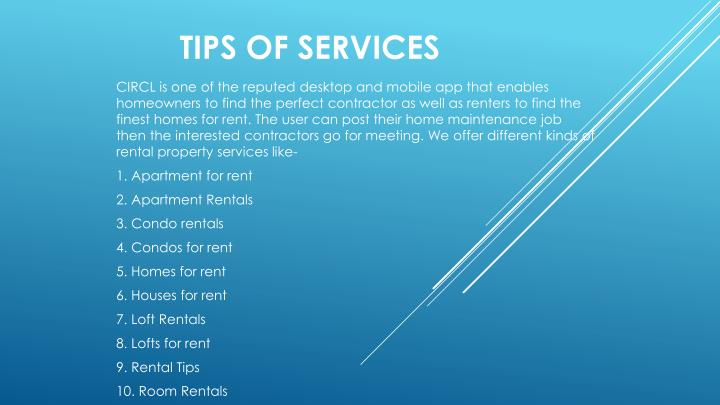 TIPS OF SERVICES