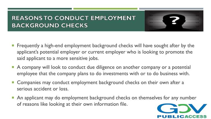 Reasons to conduct employment background checks