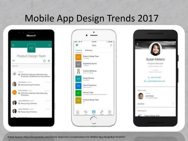 Mobile app design trends 2017