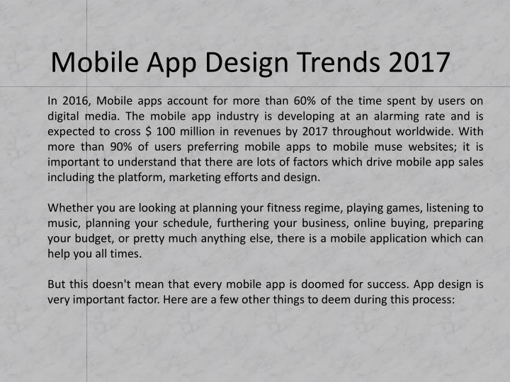Mobile app design trends 20172